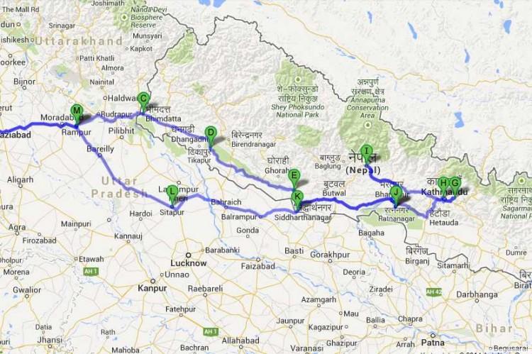 Die komplette Route von Indien nach Nepal